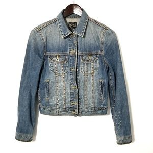 Lucky Brand Studded Distressed Jean Jacket